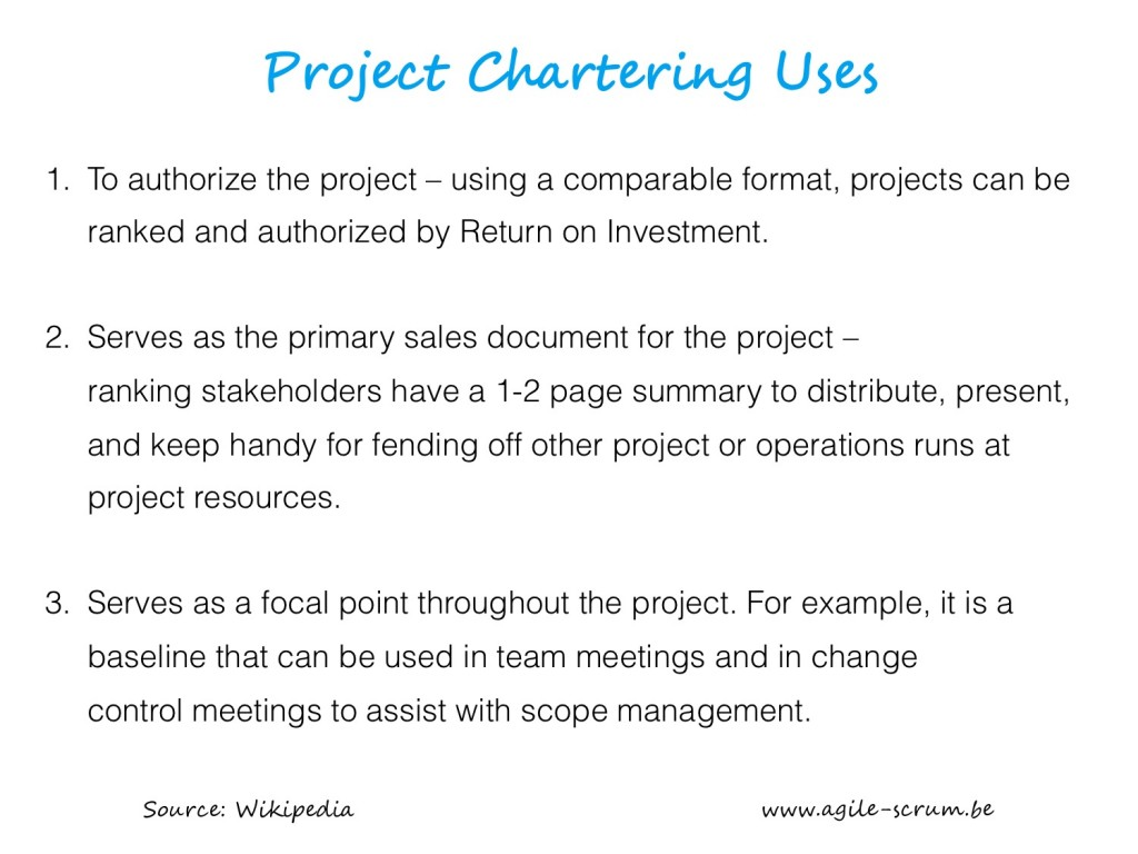 AGILE SCRUM VISUAL project chartering uses