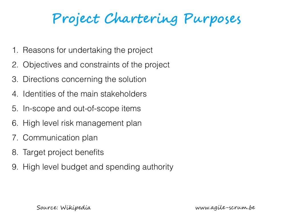 AGILE SCRUM VISUAL project chartering purposes