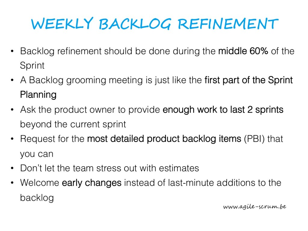 AGILE SCRUM VISUAL weekly backlog refinement